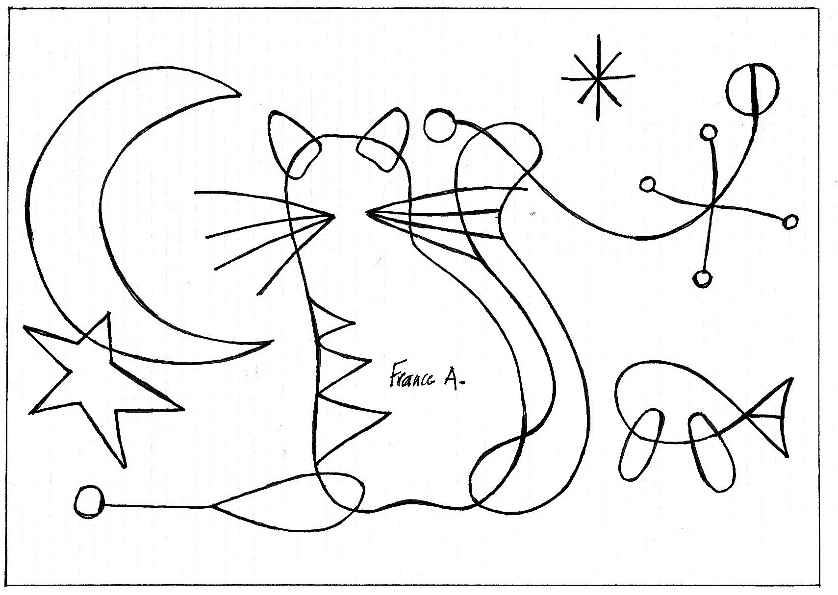 miro people and dog in the sun coloring page and lesson 60a