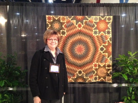 Jo Morton in front of my quilt